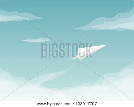 Paper plane background with airplane flying above clouds. Business symbol of success and freedom.