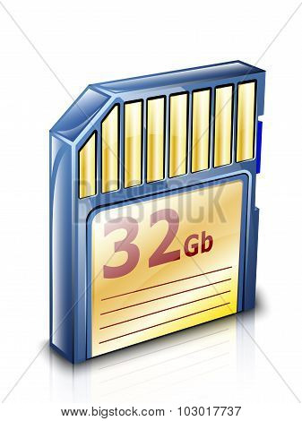 Memory Card Icon With Reflection. Vector Illustration