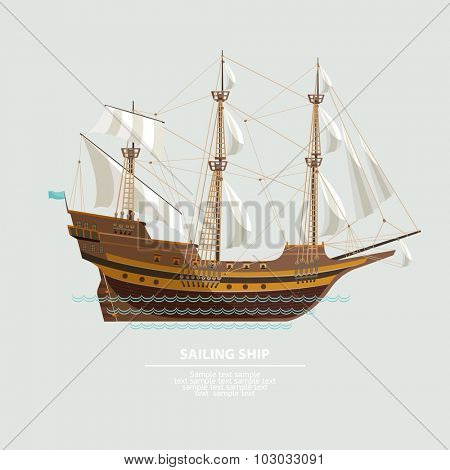 Old sailing ship. Flat design.