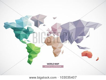 Vector world map design. geometric style Triangle pattern continents with different colors