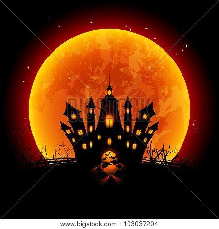 Halloween Illustration Blood Moon And Haunted Castle