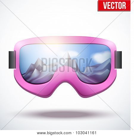 Classic vintage old school pink snowboarding goggles