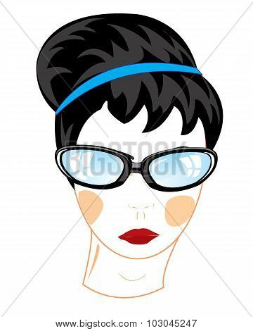 Person of the girl bespectacled