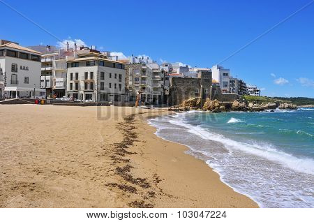 a view of La Platja, the main beach in the old town, in La Escala, in the Costa Brava, Spain