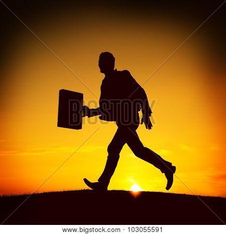 Business man Running Commuter Late Hurry Concept poster