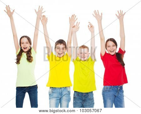 Happy group children isolated at white background. Smiling teen. Frendship boys and girls