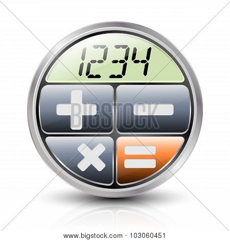 Calculator Icon With Reflection And Shadow On A White Background