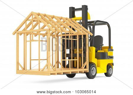 Forklift Truck Moving Frame House