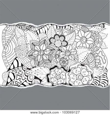Stock Vector Floral Black And White Doodle Pattern With Torn Paper