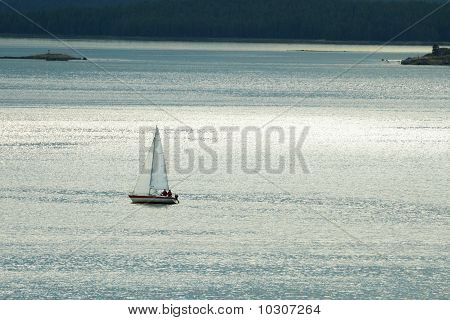 Small Lonely Yacht Against Sea
