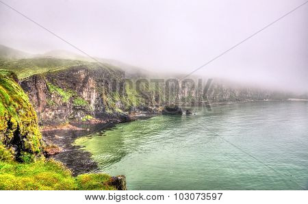 Rugged Coastline Of Ireland Island Near Ballintoy