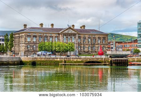 View Of Custom House Over The River Lagan In Belfast