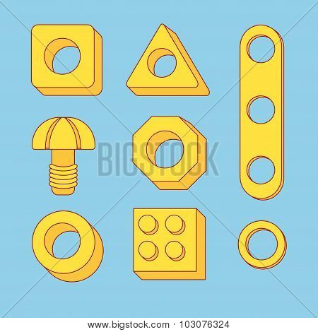 Set Of Tools: Screws And Nuts. Construction Hardware: Bolts, Nuts And Spacers, Isolated Vector Eleme