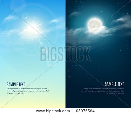 Day And Night Illustration. Cloudy Sky Background