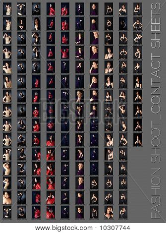 contact sheet of a professional fashion shoot for a beautiful brunette woman in five wardrobe changes 145 images unretouched poster
