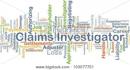 Background concept wordcloud illustration of claims investigator poster