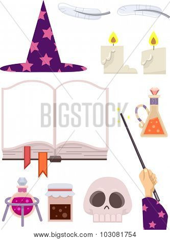 Grouped Illustration Featuring Wizardry Related Items