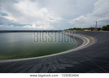 Lam Takong reservoir (water reservoir with plastic liner) Nakhon Ratchasima Thailand poster