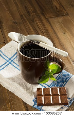 Diet chocolate and coffee with natural sweetener stevia