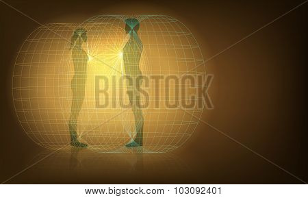 Vector Conceptual Illustration of Man and Woman Auras Interaction, Eps10 vector, Gradient Mesh and Transparency Used poster