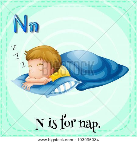 Flashcard letter N is for nap illustration poster