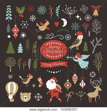Big Set of Christmas graphic elements on a black background, collection design elements, vector images