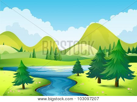 Nature scene with river and hills illustration