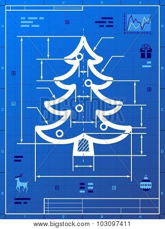 Christmas Tree Symbol As Blueprint Drawing