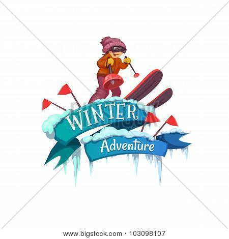 Winter Adventure banner with ribbon and ski. Vector illustration