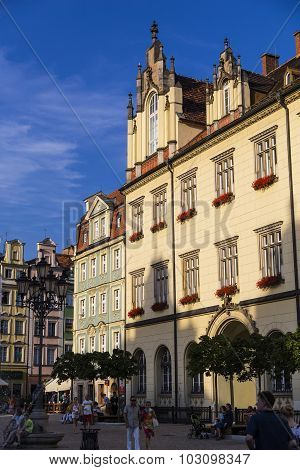 WROCLAW, POLAND - AUGUST 04, 2013: Some houses in the historic center of Wroclaw. Poland