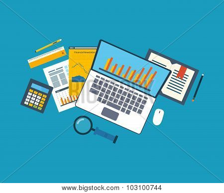 Flat design illustration concepts for business analysis, financial strategy and report, consulting,