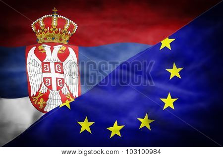 Wavy flag of Serbia and European Union fills the frame. poster