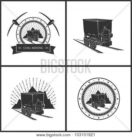 Set of  Emblem Coal Mining Industry