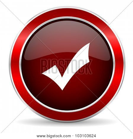 accept red circle glossy web icon, round button with metallic border