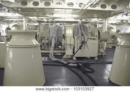 Mooring Winches on a large vessel