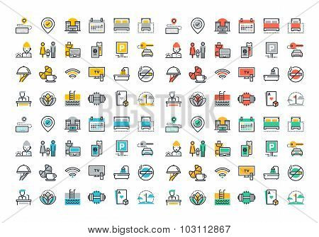 Flat line colorful icons collection of hotel services