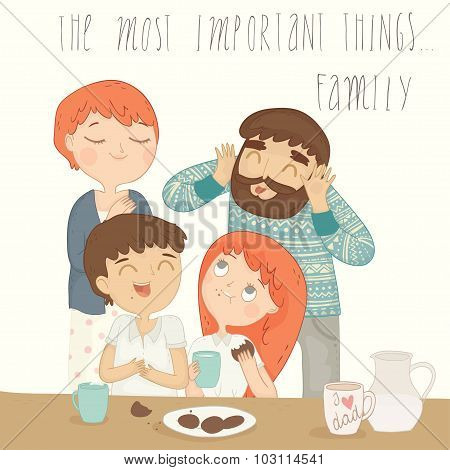 Illustration of a happy family at breakfast.