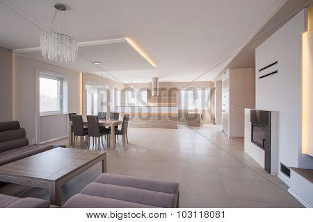 Roomy Interior With Sofa Set