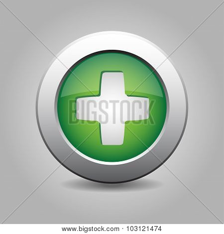 Green Metal Button With Plus