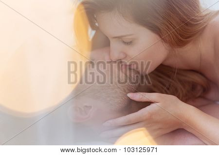 Amorous Couple Kissing Tenderly