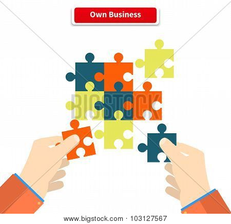 Creating or building own business concept. Puzzle piece, construction and development, build construct, idea and success, solution and growth, challenge and jigsaw illustration poster
