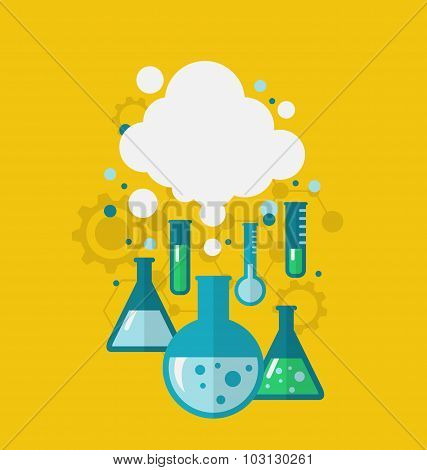 Template of chemical experiment showing various tests being cond
