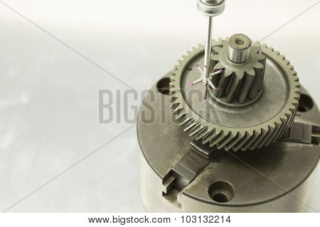 inspection automotive gear dimension by CMM measuring machine poster
