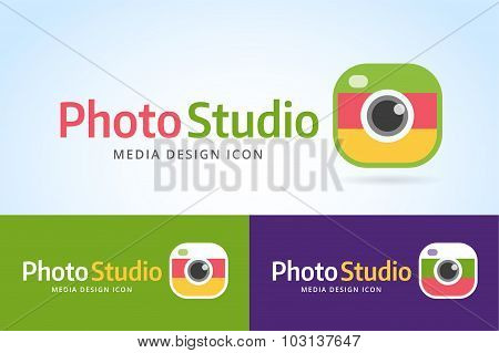 Photo camera icon template. Photographer logo