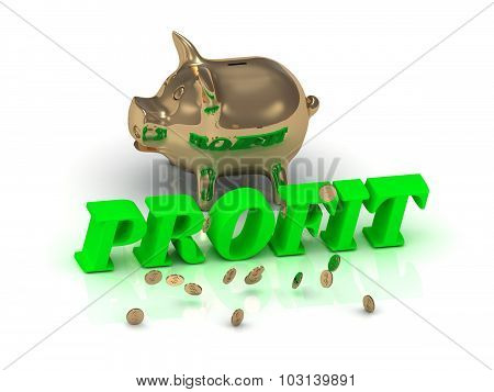 PROFIT - inscription of bright green letters and gold Piggy on white background poster