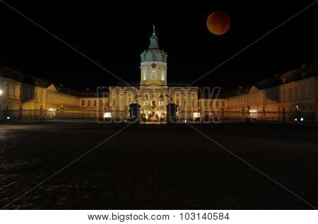 Charlottenburg Palace With Bloody Moon, Berlin, Germany