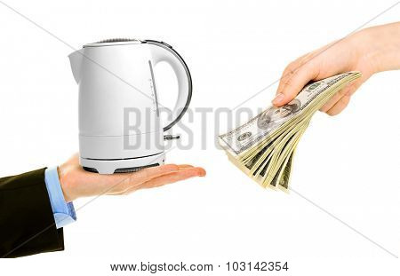 Teapot and money on hands- pawnshop concept