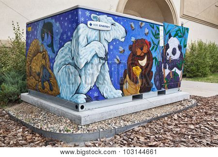 FORT COLLINS, CO, USA, JULY 22, 2012: Ice Bear Mural painted by Ren Burke in the old town of Fort Collins, Colorado. City of Fort Collins Art in Public Places, 2011 Transformer Cabinet Mural Project.