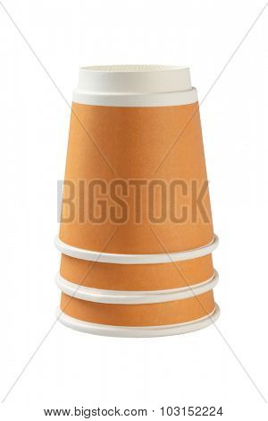 Stack of Inverted Coffee Cups on White Background
