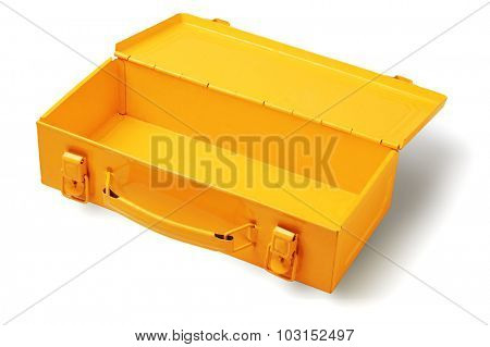 Open and Empty Metal Tool Box on White